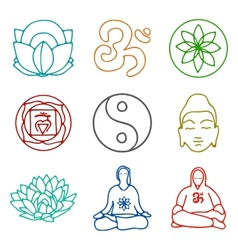 Icons of yoga vector