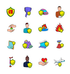 Insurance icons set cartoon vector