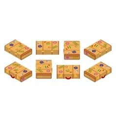 Isometric lying yellow travelers suitcases vector
