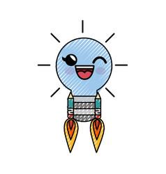 Light bulb cartoon smiley vector