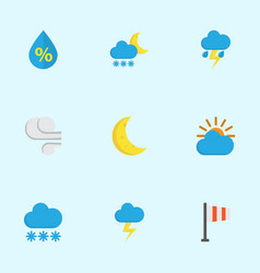 Meteorology flat icons set collection of the vector