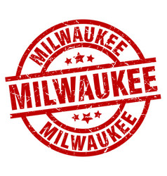 Milwaukee red round grunge stamp vector