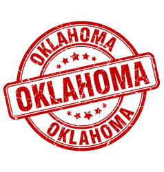 Oklahoma red grunge round vintage rubber stamp vector