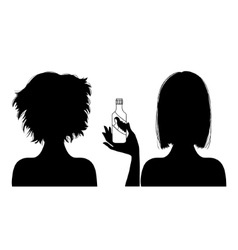 Silhouette woman with hair-dress before and after vector