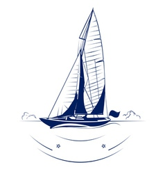 Speed yacht insignia vector