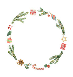 watercolor christmas frame with fir branches vector image vector image