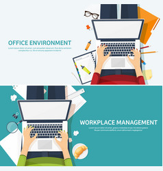 Workplace with table and computer laptop vector