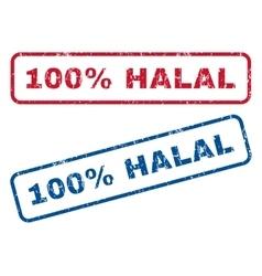 100 percent halal rubber stamps vector