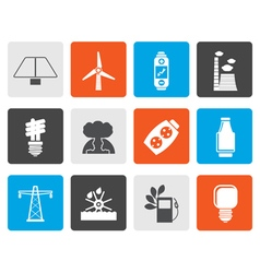 Flat Power energy and electricity icons vector image