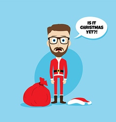 Santa claus costume skinny dad vector