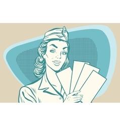 Retro stewardess with ticket vector image