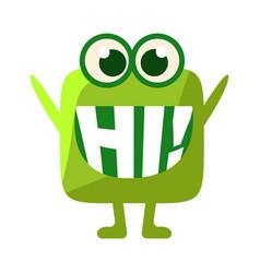 Green blob saying hi cute emoji character with vector