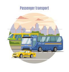 Urban public passenger vehicles template vector