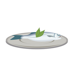 Fish with leaves on a plate dinner health food vector