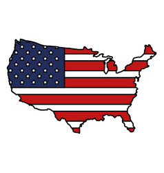united states of asmerica map with flag vector image