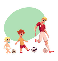 Baby kid and adult soccer player playing football vector
