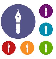 Fountain pen nib icons set vector