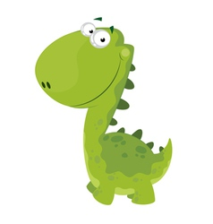 Green smiling dino vector