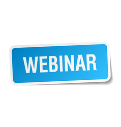 Webinar blue square sticker isolated on white vector