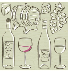 Set of glases and bottles for wine vector