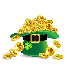 Gold coin in green st patricks day hat vector