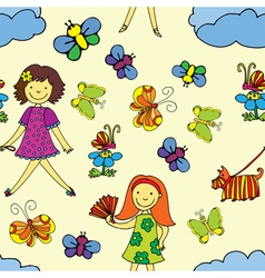 Girls day pattern vector