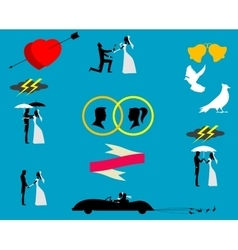 Wedding couples in silhouette vector