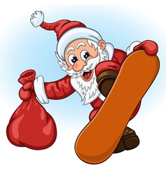 Santa claus with gift bag on the snowboard vector