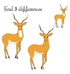Find differences kids layout for game gazelle vector