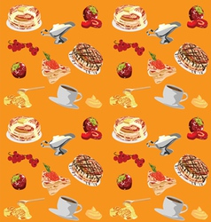 Background with pancakes vector