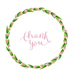 Thank you with wreath of flowers vector
