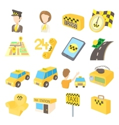 Taxi icons set cartoon style vector