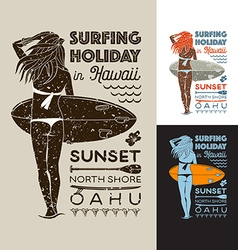 Surfing holiday hawaii girl vector