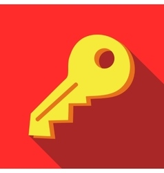 Yellow key icon in flat style vector