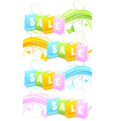 Set of banners with shopping bags vector