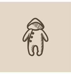 Baby rompers sketch icon vector image vector image