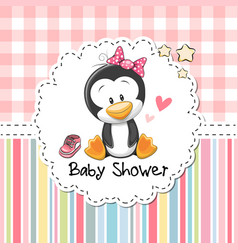 baby shower greeting card with penguin vector image