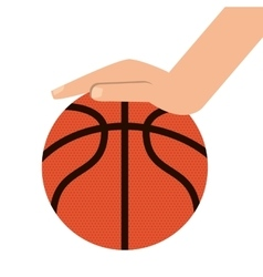 basketball ball and hand icon vector image