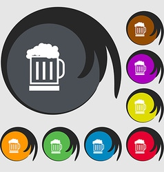 Beer glass icon sign symbols on eight colored vector