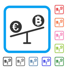 bitcoin euro market swings framed icon vector image vector image
