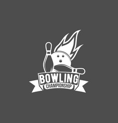 bowling emblem label badge and designe elements vector image