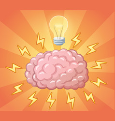 Brain and ligh bulb as idea concept vector