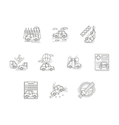 Car insurance line icons set vector image