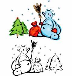 cartoon snowmen vector image vector image