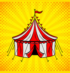 circus tent cannon pop art vector image vector image