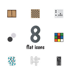 Flat icon games set of dice gomoku multiplayer vector