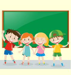 four students having fun in classroom vector image