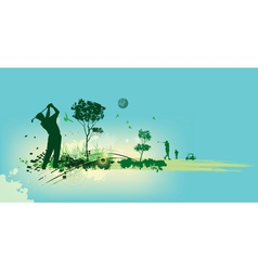 Golf Silhouettes in blue background vector image vector image