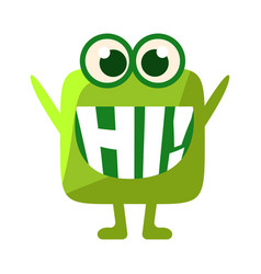 green blob saying hi cute emoji character with vector image