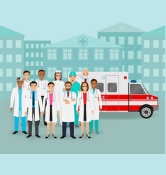 Group of doctors and nurses and ambulance car on vector